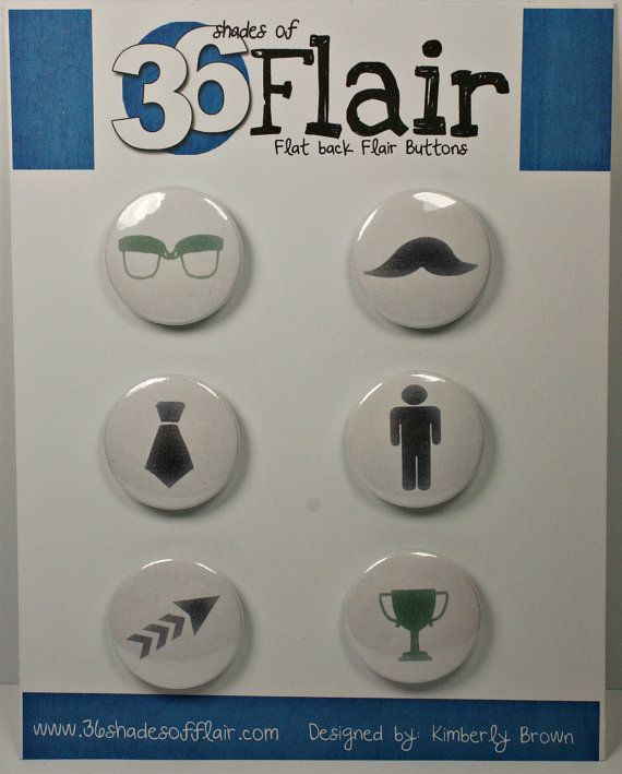 All about Men Round Flat backed Flair Buttons by 36ShadesofFlair, $4.75