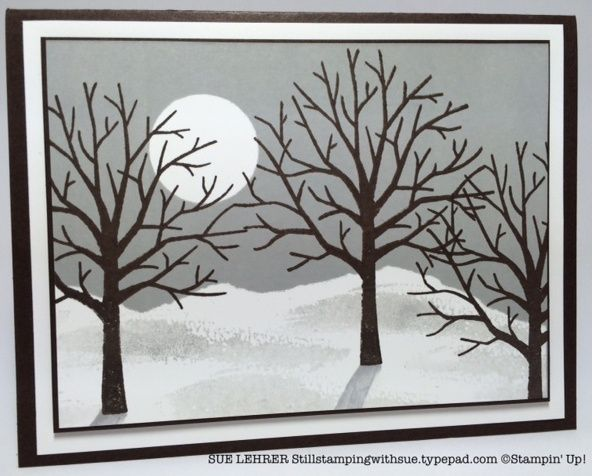 Stampin' Up! .... handmade winter card using Sheltering tree and shades of gray .... winter scene ... brayering and stamping ... luv how she created shadows ...