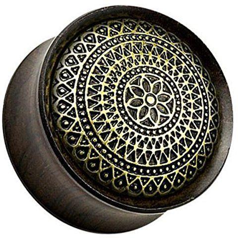 19mm Unusual Organic Black Ebony Wood Aztec Lattice Design Saddle Ear Plug Flesh Tunnel Other Sizes Available in our Pegasus Body Jewellery Amazon Shop