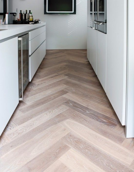 Kitchen floor - what I love is the sense of Movement which is created by the chevrons