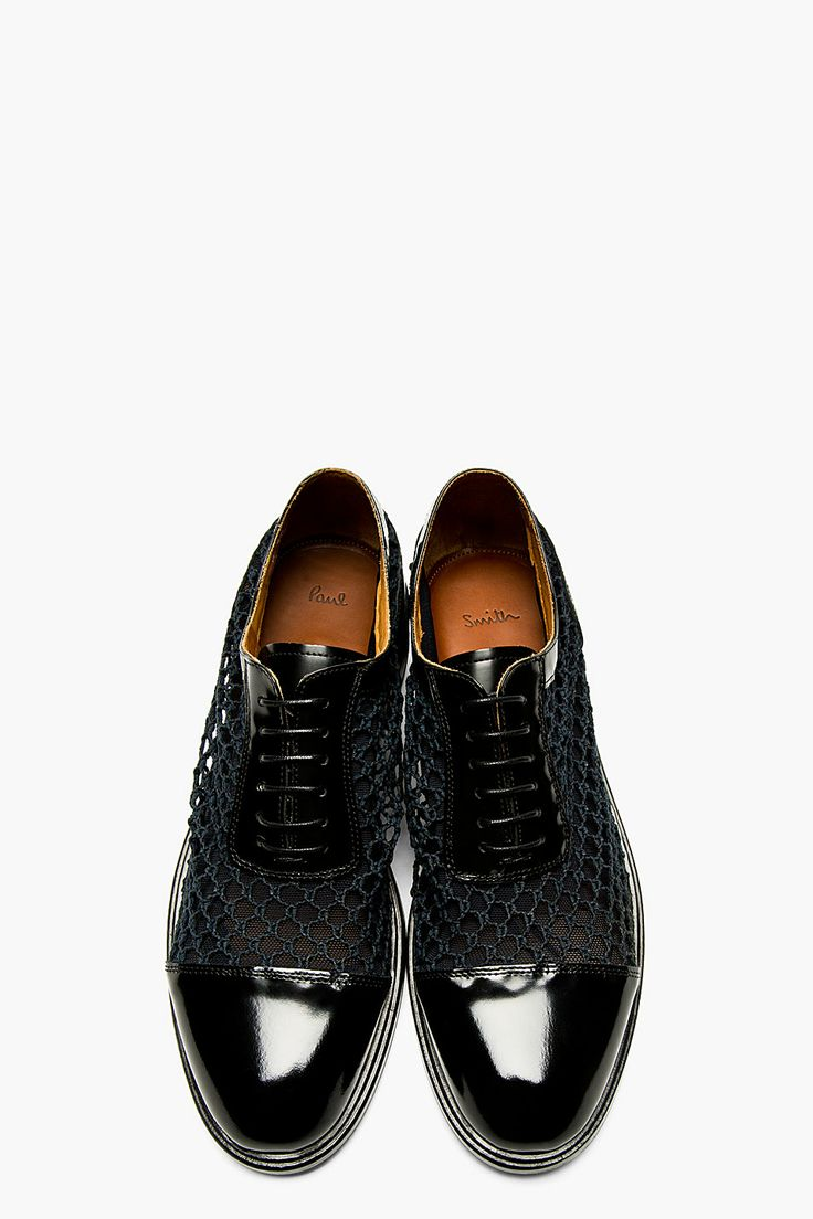 PAUL SMITH  Black Crochet Mesh & Leather Rocco Shoes