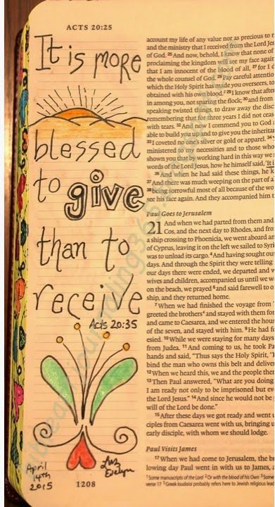 Easy Bible Art Journaling Journey: Acts 20:35 (April 14th)
