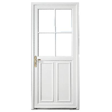 Barrez la route aux déperditions d'énergie avec la porte d'entrée Olonne PVC. Sa mousse isolante de 20mm et son double vitrage isolent votre foyer. Disposez son poussant à droite ou à gauche !