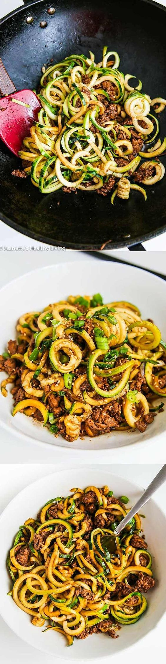 Chinese Five Spice Ground Turkey Zucchini Noodles Recipe ~ http://jeanetteshealthyliving.com