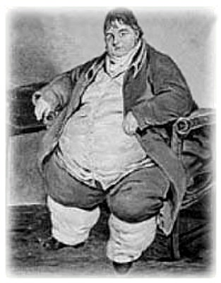 Daniel Lambert 1770-1809  Britain's first obese man.  At the Newarke Houses Museum in Leicester, England, hangs a portrait of Britain's first obese man, painted in 1806. Daniel Lambert weighed 53st (335kg) and was considered a medical oddity. Too heavy to work, Lambert came up with an ingenious idea: he would charge people a shilling to see him. Lambert made a fortune, and his portrait shows him at the end of his life: affluent and respected – a celebrated son of Leicester.