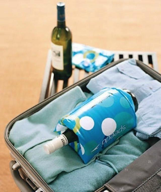 19 Brilliant Packing Hacks Seen on Pinterest: Use Swim Floaties to Cushion Wine Bottles
