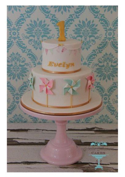 Pinwheel 1st Birthday Cake