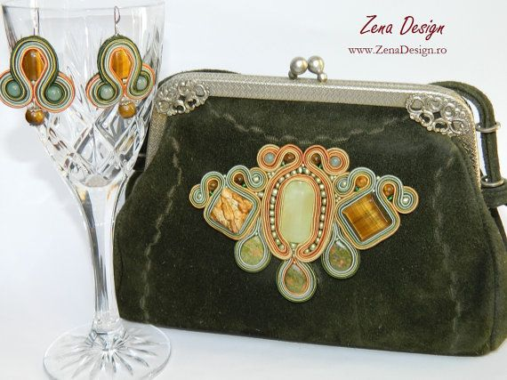 Green natural lether purse and earrings with by ZenaDesign on Etsy