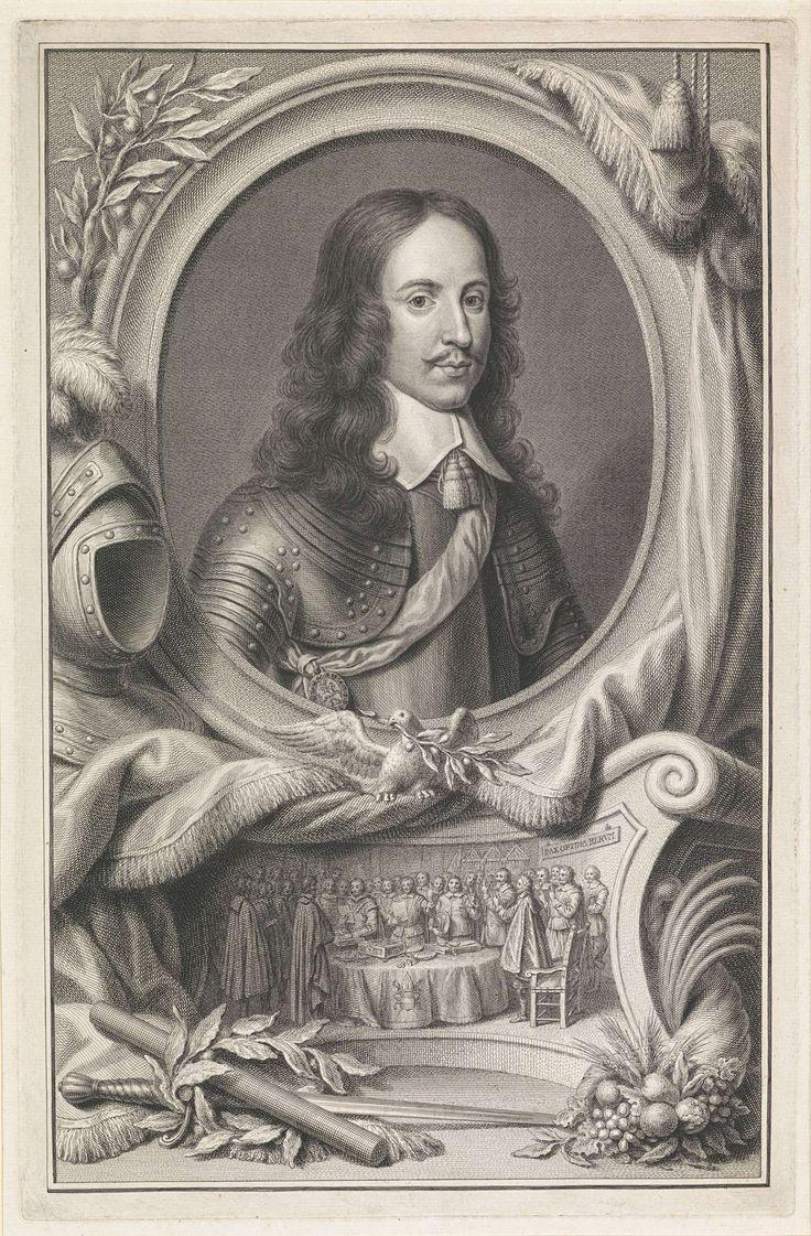 Pieter Tanjé | Portret van Willem II, prins van Oranje, Pieter Tanjé, c. 1749 | Portret van Willem II in een ovaal. Rondom ligt een aantal allegorische objecten, waaronder een commandostaf, een lauwerkrans en een helm. Op het reliëf het beëdigen van de Vrede van Munster, 15 mei 1648.