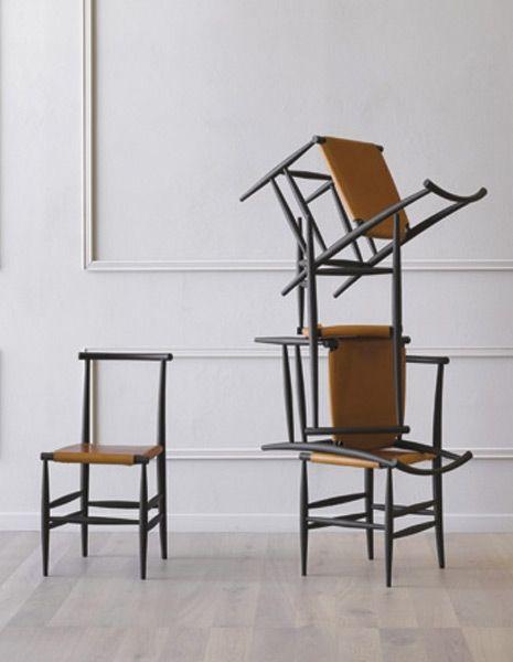 Design: Francesco Faccin. Sedia in legno con e senza braccioli. Ispirata alle sedie di epoca pre industriale è costruita con moderne tecnologie. Adatta all'uso domestico ed al contract.