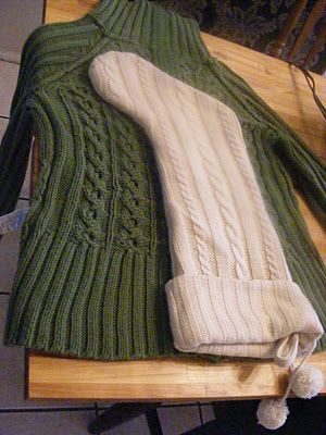 Christmas Stockings Made from Sweaters. I'm so glad this tutorial shows that you must sew the edges before cutting because knitted items will unravel otherwise and I see so people pinning another picture of boot cuffs and falsely telling everyone to simply cut a sleeve off a sweater. You must sew first!