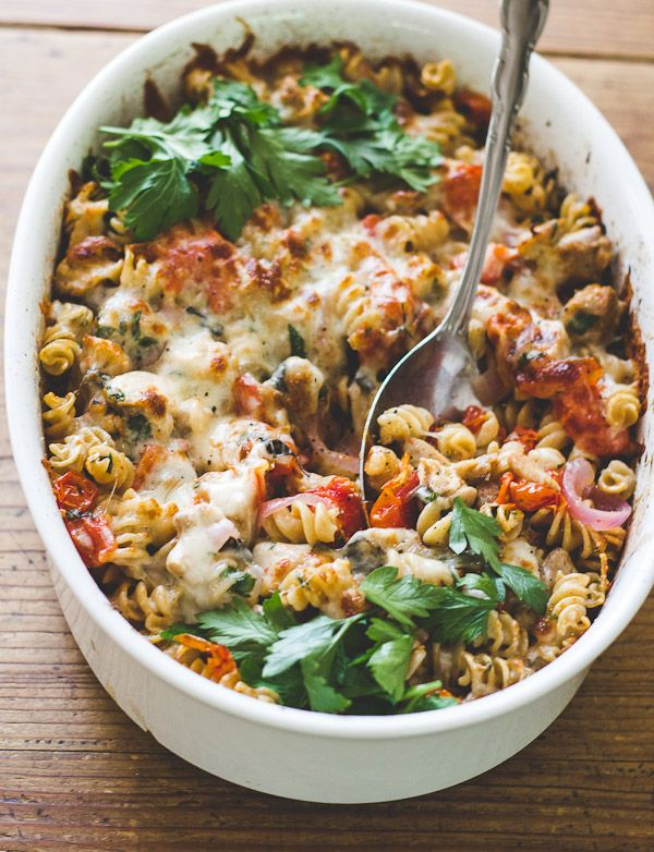 mediterranean chicken + pasta bake - The Clever Carrot