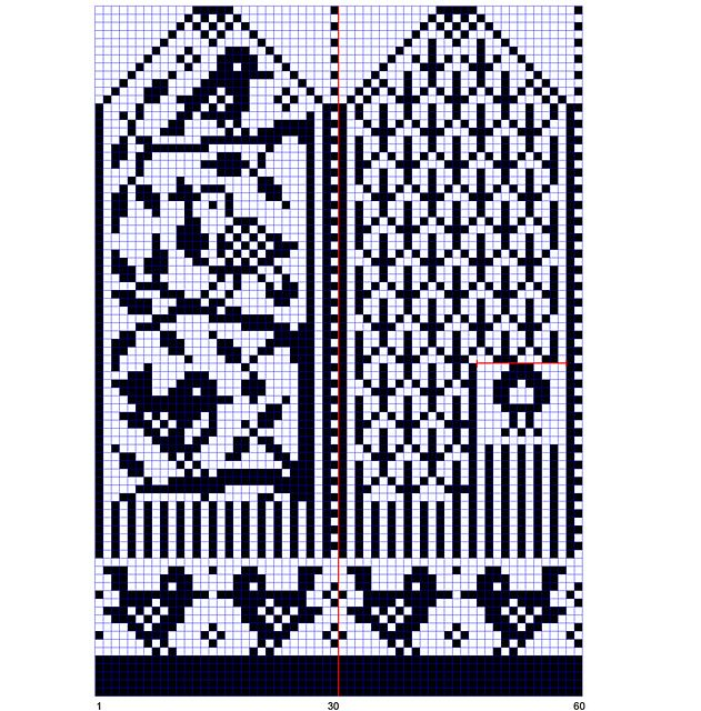birdies in the Selbu style, free download (transfer to X-stitch?)