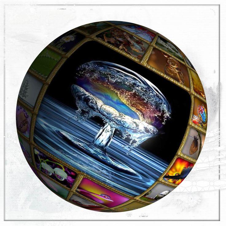 GLOBES - SPHERES - avec GIMP - scrap digital, inspiration Azza