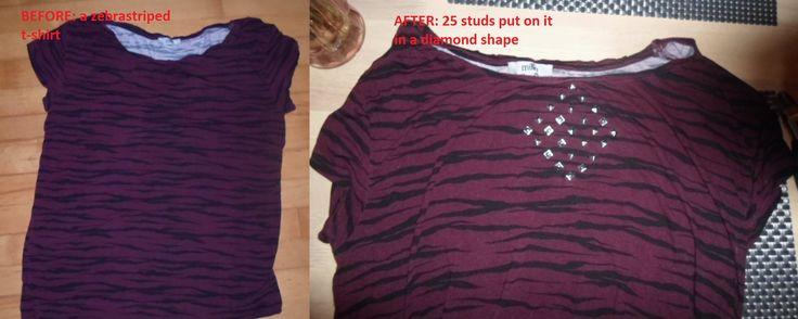 I put 25 studs in a diamond shape on a zebrastriped t-shirt.