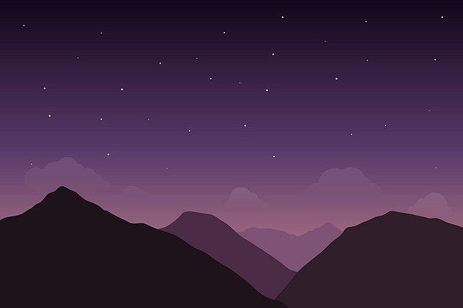 Cartoon Flat Dream Purple Sky Night Sky Background Purple Sky Dream Background Night Skies