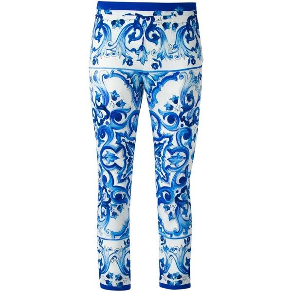 Dolce & Gabbana Majolica Trousers (€1.195) found on Polyvore featuring pants, capris, pantaloni, blue, blue crop pants, cropped pants, slim fit trousers, cropped trousers and slim fit pants