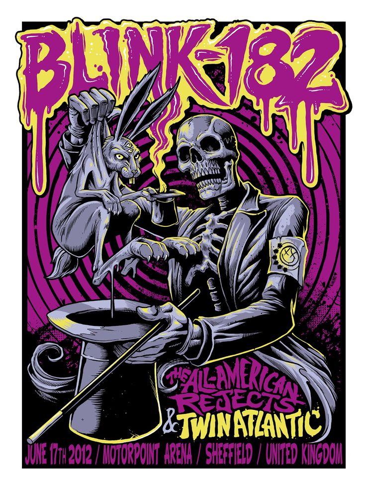 INSIDE THE ROCK POSTER FRAME BLOG: B. Heart aka Brandon Hunsaker Blink 182 Sheffield England World Premier Artist Edition Poster and On Sale Details