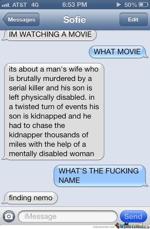 disney finding nemo funny text message
