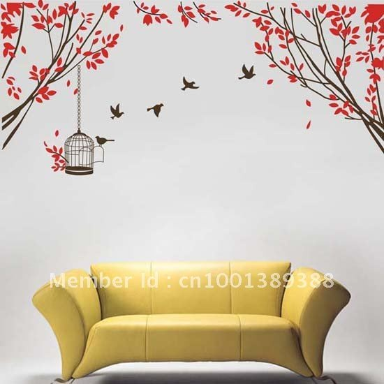 Free shipping popular self adhesive vinyl tree wall stickers decor unique home decoartion for rooms (190*65CM)-in Wall Stickers from Home & Garden on Aliexpress.com