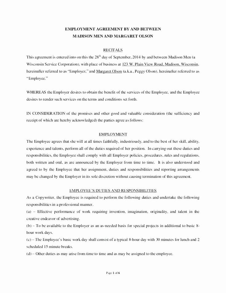 Employment Contract Template Free Download Best Of