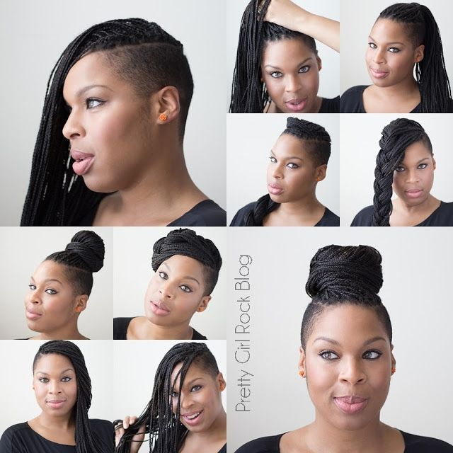 Protective Styling Hairstyle Ideas for Natural Hair: 10 ways / styles for braided or twisted hair extensions using kanekalon braiding hair
