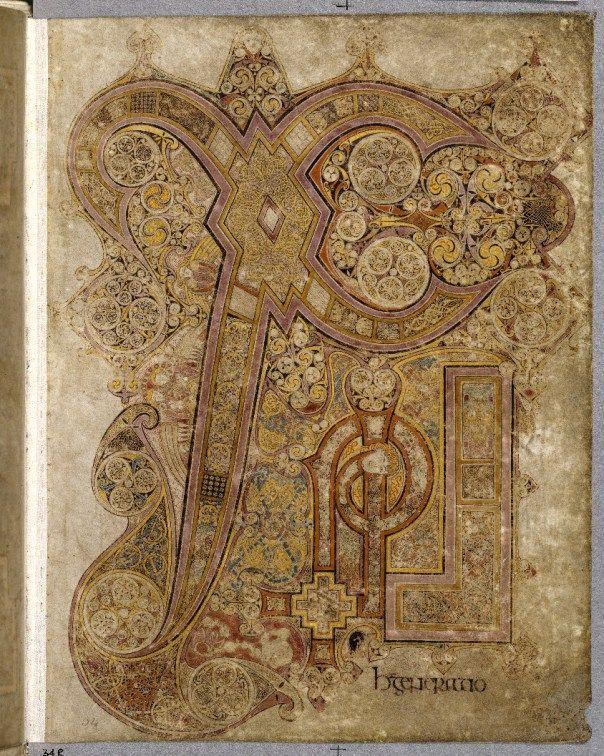 Uma das ilustrações do Livro de Kells, uma das obras mais importantes do cristianismo celta e da arte saxão-irlandês