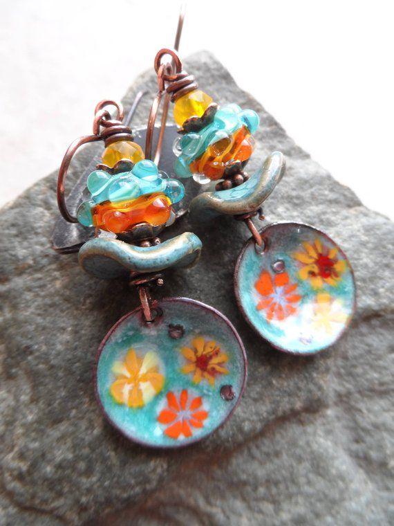 Beautiful Boho Flower Earrings Enamel