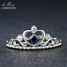 LAMOON Fijne Edelsteen Prinses Cut 100% Sapphire 925 Sterling Zilveren Sieraden Crown Trouwringen Voor Vrouwen(China)