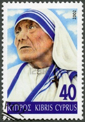 Stamp issue, circa 2002: The Blessed Teresa of Calcutta, M.C., commonly known as Mother Teresa (26 August 1910 – 5 September 1997), was an Albanian born, Indian Roman Catholic Religious Sister.