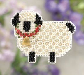 Mill Hill Little Lamb - Beaded Cross Stitch Kit. Kit Includes: Beads, treasures, perforated paper, floss, needles, magnet, chart and instructions. Finished size