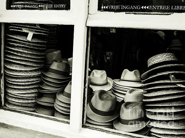 Beautiful Bruges Series by Lexa Harpell. Hats of Bruges in Shop Window.