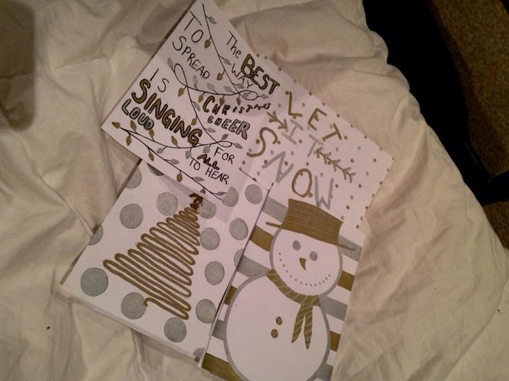 Homemade Christmas cards :)  Gold and silver sharpies