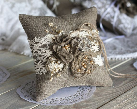 Rustic Chic Wedding ring bearer pillow with rope, lace, pearl and  handmade burlap flower