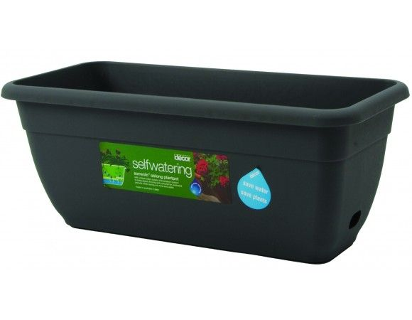 Sorrento™ plantpot, oblong, selfwatering, 450 mm (holds 8.0L potting mix) Sorrento™ self-watering oblong plantpots have a tapered shape and rollover rim that makes them strong and easy to handle. They come in a natural terracotta look, heritage green and pewter. With regular, good-quality potting mix, plants can thrive by taking just the amount of water they need from the waterwell®. The ventilated floor helps aerate their root systems. When used outdoors, rainwater can collect in the…