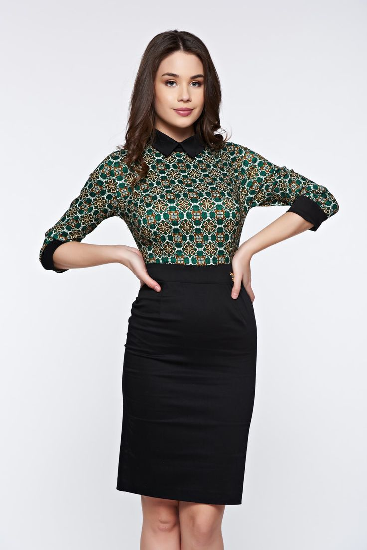 PrettyGirl green dress office pencil with pointed collar, metalic accessory, pointed collar, 3/4 sleeves, soft fabric, slightly elastic fabric, back zipper fastening, one back botton fastening
