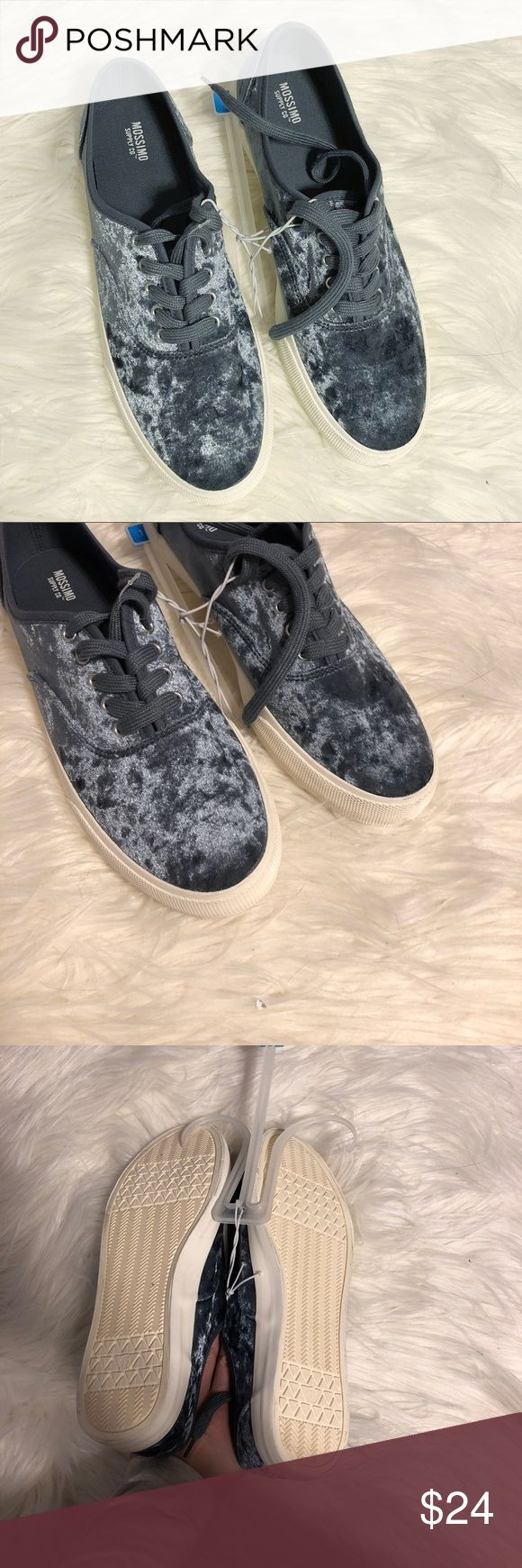 NWT Mossimo Silver Velvet Sneakers Brand new with tag attached! They're soft velour. No flaws! NO TRADES PLEASE Mossimo Supply Co Shoes Sneakers