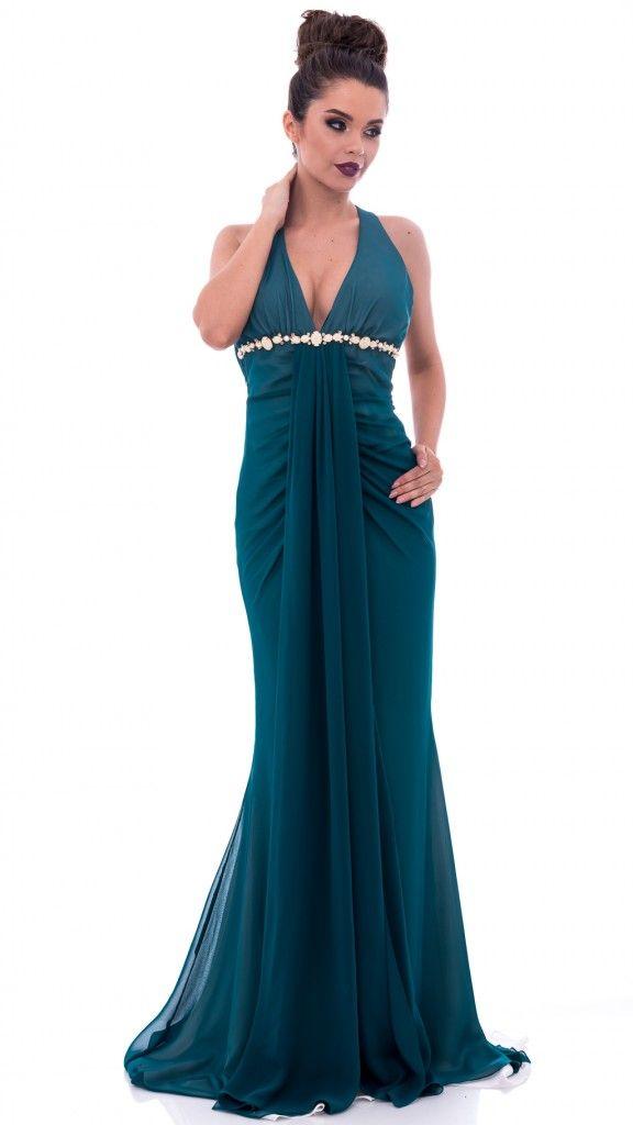 Rochie lungă verde pin spate gol și volănașe
