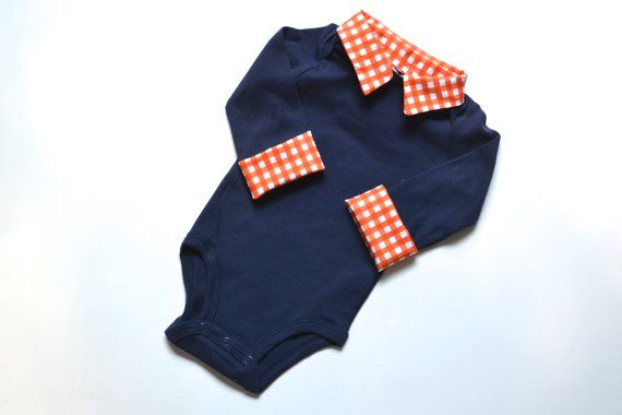 Preppy Baby Boy Onesie, Navy with Orange Gingham, Long Sleeve Button Down with Collar on Etsy, $25.00