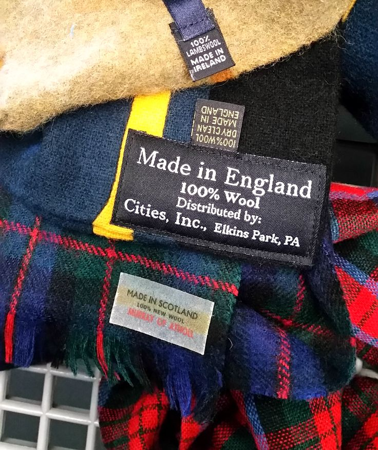 Vintage plaid wool scarves from the thrift store by Sadie Seasongoods