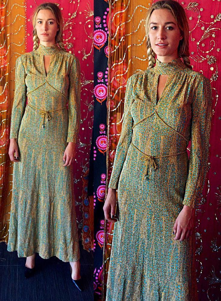 Vintage 70s Psychedelic Mollie Parnis Gold Metallic Festival Dress #MolliePARNIS