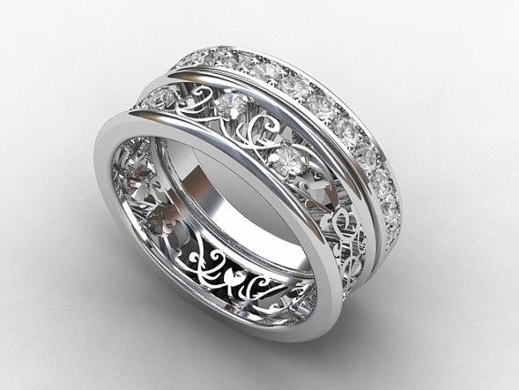 White sapphire filigree engagement ring with sapphire wedding band by TorkkeliJewellery, $2350.00