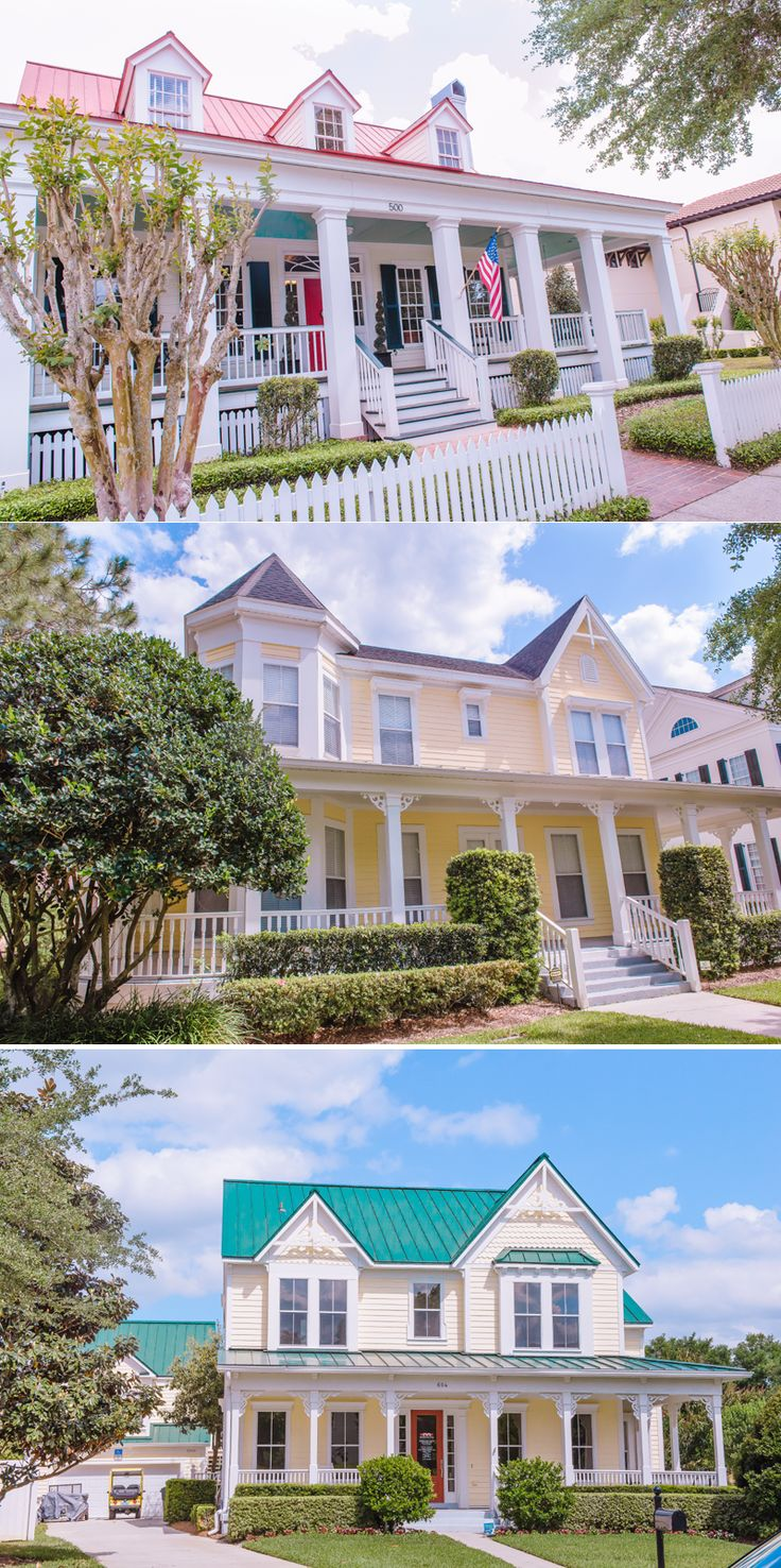 Disneytown Celebration in Florida, USA. Beautiful houses with large porches.