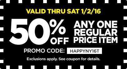 50% Off Any One Regular Price Item