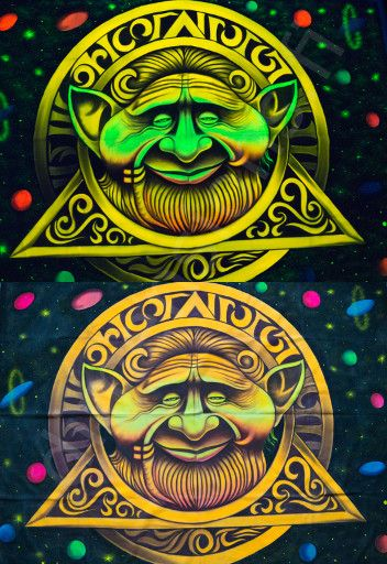 Handmade UV painting of a gnome, x-large size 210 x 150 cm (83 x 59 in).
