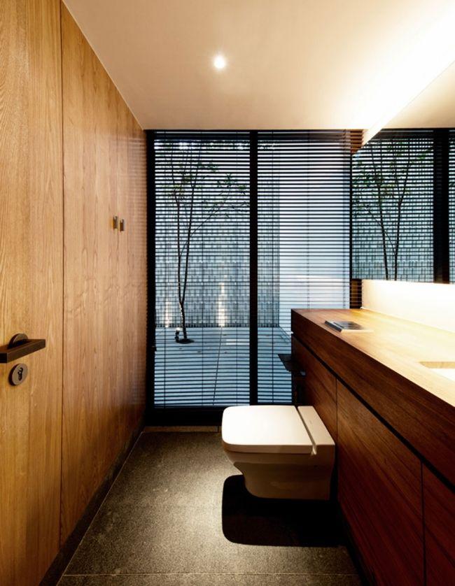 badezimmer toilette jalousien holz wandverkleidung