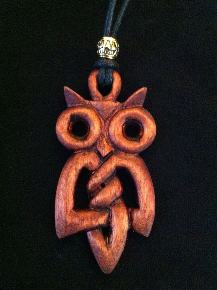 Hand Carved Wooden Celtic Knot Owl Pendant Necklace.