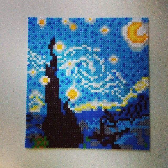 Starry night van gogh hama perler pixel art by mahama - Hama beads cuadros ...