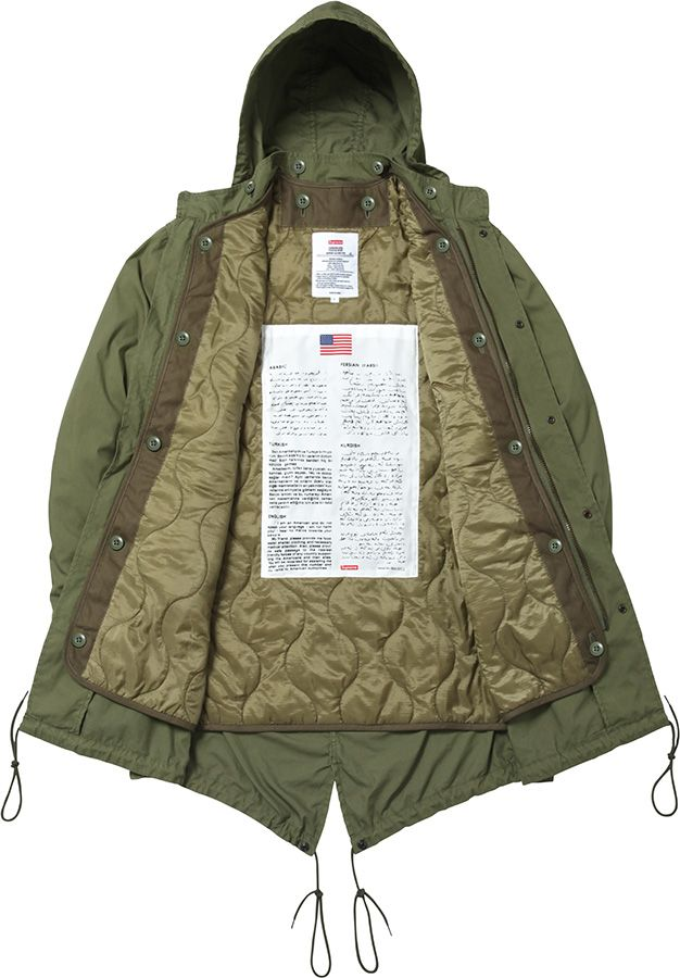 Supreme Fishtail Parka. Military spec. Removable quilted liner and hood. USA.