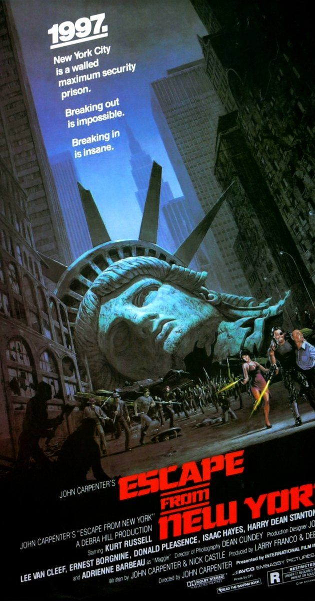 Directed by John Carpenter.  With Kurt Russell, Lee Van Cleef, Ernest Borgnine, Donald Pleasence. In 1997, when the US President crashes into Manhattan, now a giant maximum security prison, a convicted bank robber is sent in for a rescue.